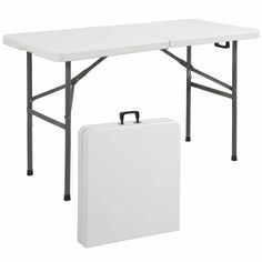 Party Table-Folding Table Portable Plastic Indoor Outdoor Picnic Party Dining Camp-patio furniture sets-This table is great for entertaining and can be used as a serving table, game table, or outdoor dinning table-Guaranteed! Outdoor Dinning Table, Table Portable, Folding Picnic Table, Folding Tables, Folding Chair, Camping Table, Camping Gear, Camping Life, Rv Life