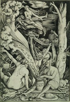 Heksensabbat. Hans Baldung Grien, 1510. Rijksmuseum, Amsterdam. Vooral Duitse kunstenaars laten als eerste de heks zien als zelfstandig onderwerp. Tijdens de sabbat vliegt een heks op een bok door de lucht. Op de voorgrond brouwen 2 heksen een tovermiddel. Grien sluit inhoudelijk aan bij Geiler von Kaysersberg die vanaf de kansel in Straatsburg waarschuwt voor heksen. Grien heeft zijn atelier in Straatsburg.