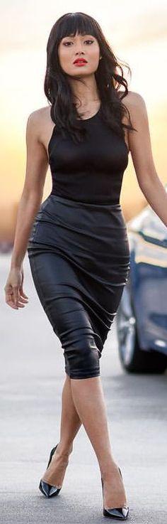 Black Pumps  Black Bodysuit Black Leather Skirt Fall Inspo by Micah Gianneli