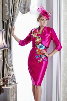 Ian Stuart Silk Dupion & Beaded Tulle Embroidery. Available in fuchsia…