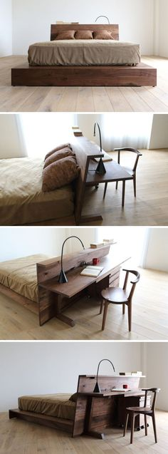 Caramella (Hirashima Inc., 2014): a serie of mixed-use furniture; a bed made of walnut and detailed with a long desk table.