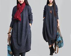 Vestidos maxi - Vestido azul del otoño largo del algodón -19 - hecho a mano por MissJuan en DaWanda