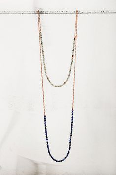 Pink #silver #chain with blue and gray #agate #necklace by #maschiogioielli #milano #minimal #naturalstones #contemporaryjewels