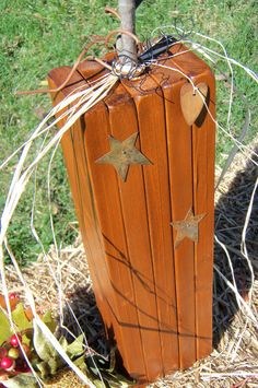 Primitive Wooden Pumpkin/ Handmade/ One Pumpkin by CornerOfTheShop, $15.00