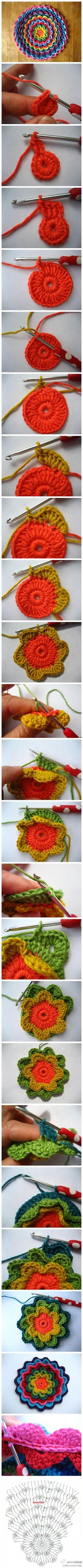 Crochet Flower - Tutorial  I would be so happy if someone made a whole smack of these cool, colourful flowers, and then put them on all kinds of cool, colourful squares and ultimately -- make me a lovely blanket.  Any takers?
