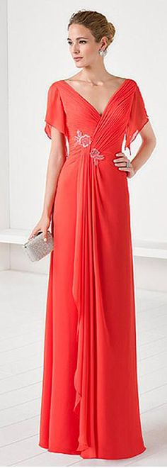 Stunning Chiffon V-neck Neckline Illusion Sleeves Sheath/Column Mother Of The Bride Dresses With Beadings