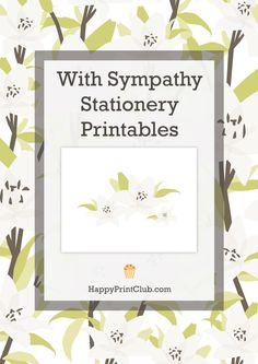 With Sympathy Stationery Printables on HappyPrintClub.com