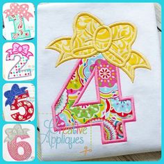 Bow Numbers Birthday Set Applique Digital Machine Embroidery Design 3 Sizes by Creativeapplique on Etsy https://www.etsy.com/listing/217286673/bow-numbers-birthday-set-applique