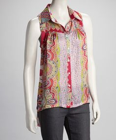 Take a look at this Pink Hi-Low Sleeveless Button-Up by Rain on #zulily today!