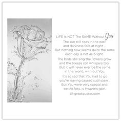 Life Is Not The Same Without You - The sun still rises in the east and darkness falls at night, but nothing now seems quite the same, each day is not as bright. | all-greatquotes.com #Grief #Loss #Poem