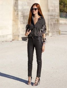 Dries Van Noten shirt | leather pants | strappy heels | Taylor Thomasi Hill