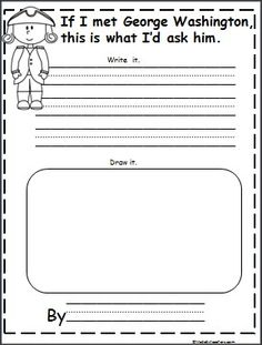 This is a George Washington writing activity available FREE on Madebyteachers.com.  Great for February and President's Day.