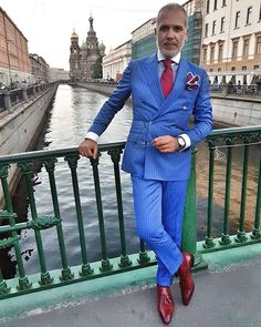 Suit and shirt by bespoke loafers by square by watch by Mens Fashion Suits, Mens Suits, Men's Fashion, Double Breasted Pinstripe Suit, Blazers For Men Casual, Black Men Beards, Blue Loafers, Designer Suits For Men, Dress For Success