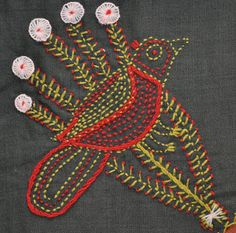 19th century whimsical embroidery: Snake Trail Fans quilt posted at Wonkyworld