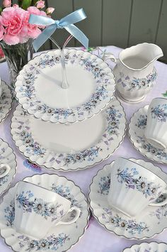 Silver and Blue Vintage Tea Set and Cake Stand
