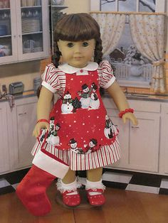 Susie's Christmas dress and Snowman apron For Molly or Kit by Suzebella | eBay