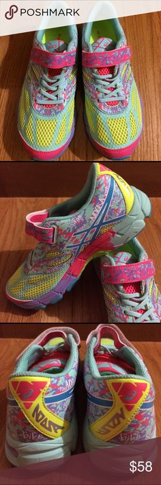 Asics colourful sneakers Asics Gel Noose Tri 10. Brand new and bold sneakers that glows in the dark! Cushioned insole and rear foot GEL. It's size US 3/Euro 35, so fits like a women's 5. The undersole has a hint of black marking from being in the store and probably a display. Asics Shoes Athletic Shoes
