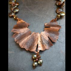 Remnant of a Ginkgo  Fretwork in copper, freshwater pearls, wire wrapped and copper chain