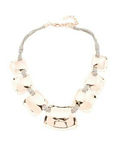 Rose gold and gray leather necklace from TJ Maxx.  I get lots of compliments on this statement necklace