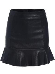 Black Ruffle Bodycon PU Skirt