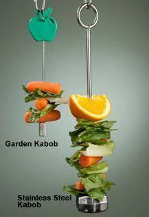Kabobs (for birds mostly) You can purchase the kabob parts at most pet stores. Just add your fruits and veggies. No citrus for male rats! Diy Parrot Toys, Diy Bird Toys, Parrot Pet, Parrot Bird, Homemade Bird Toys, Bird Aviary, Budgies, Cockatiel, Planted Aquarium