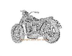Old School Vintage Motorcycle Drawing Word Art Calligram, Retro Motorcycle Art Typography Pen and Ink Motorcycle Illustration Art Print