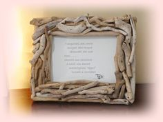"""""""NIDO'"""" portafoto con legni di mare. Driftwood, Diy And Crafts, Projects To Try, Homemade, Interior Design, Frames, Anna, Shabby, Gifts"""