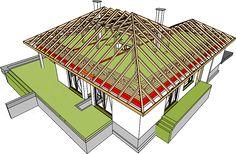 Projekt domu Marcel G2 128,96 m2 - koszt budowy 254 tys. zł - EXTRADOM Hip Roof Design, Roof Truss Design, House Design, Cottage Style House Plans, Roof Trusses, Marcel, Roof Structure, Autocad, Carpentry