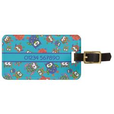 A cool, double-sided acrylic Luggage Tag or Label, with a pattern of cute owls in red, blue, green on a Turquoise Blue background which you can easily change by using the edit button. The strap is in leather and the owl pattern is from an original handpainted paper collage design by Judy Adamson: up to $11.95 - http://www.zazzle.com/custom_cute_owls_luggage_tag_red_blue_green-256856627870872293?rf=238041988035411422&tc=pintw