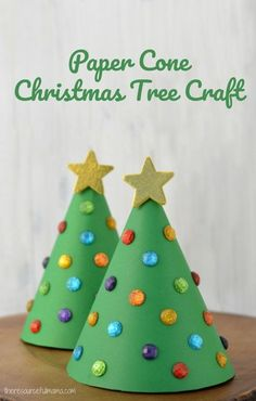 This Paper Cone Christmas Tree Kid Craft added some dimension to our crafting and resulted in a lovely kid made Christmas decoration. #christmascrafts #kidscrafts #christmastree