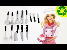 How to Make Doll Realistic Kitchen Utensils / Cutlery - Spoons, Forks, Knives, Spatula, - YouTube
