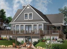 Discover the plan - Pocono 5 from the Drummond House Plans house collection. A-Frame Rustic Country Cottage plan, 4 bedrooms, 3 bathrooms, screened-in porch, unfinished walkout basement. Total living area of 2416 sqft. Basement House Plans, Lake House Plans, House Plans One Story, Walkout Basement, Best House Plans, Basement Ideas, Rustic Basement, Basement Carpet, Cabin Plans