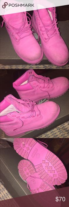 Pink timberlands Normal wear but still a lot of life left in them and they come with the original box Timberland Shoes Boots