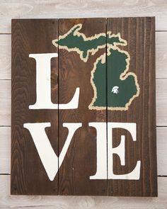 LOVE Michigan State Spartans Wooden Sign by LarissaJBeers on Etsy, $38.00