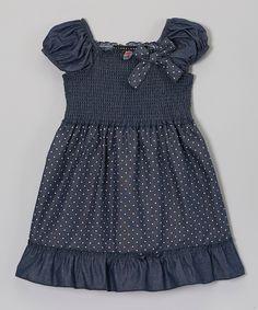 Blue  White Polka Dot Bow Dress//