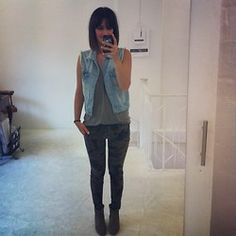 Golestaneh Demin Vest, Alexander Wang Army Green Tank Top, Zara Camo Jeans, Isabel Marant Boots - Military - Golestaneh ..