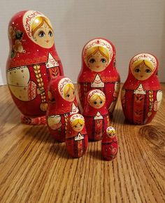 Russian nesting dolls 7 dolls all together and signed on the bottom