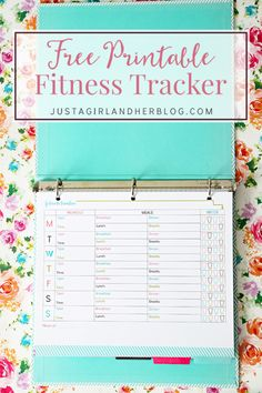 Love this free printable fitness tracker for helping me keep track of my workouts and healthy eating! Click through to the post to get the pretty printable!   JustAGirlAndHerBlog.com