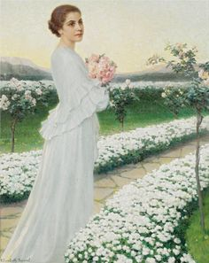 ⊰ Posing with Posies ⊱ paintings & illustrations of women & children with flowers - May Evening, 1938 - Elisabeth Sonrel