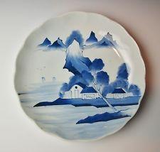 GRANDE 200 años de edad japonés antiguo azul y blanco porcelana CARGADOR DE PLACA Edo