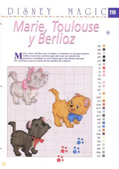 "Disney Magic ~ ""Marie, Berlioz and Toulouse"" The Aristocats Disney Cross Stitch Patterns, Cross Patterns, Counted Cross Stitch Patterns, Cross Stitch Designs, Cross Stitch Embroidery, Cat Cross Stitches, Cross Stitch Books, Cross Stitch Baby, Cross Stitching"