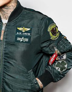 Image 3 of Alpha Industries Bomber Jacket with Patches Military Inspired Fashion, Military Fashion, Mens Fashion, Varsity Jacket Outfit, Nasa Clothes, Mens Outdoor Jackets, Denim Shirt Men, Oldschool, Cool Jackets