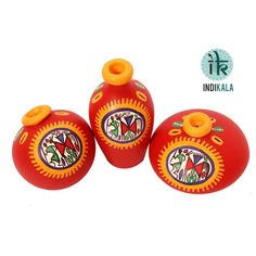 Name : Red Terracotta Warli Handpainted Miniature Pots : Set Of 3 Price : Rs 499 Buy Now at : http://www.indikala.com/red-terracotta-warli-handpainted-miniature-pots-set-of-3.html #Handmade #Handicraft #Pots