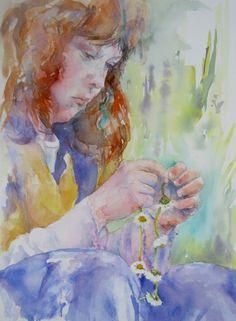 Claire Bartlett - Watercolour on paper, 12 x 16. Portrait of child making a daisy chain. (LInk to portfolio):…