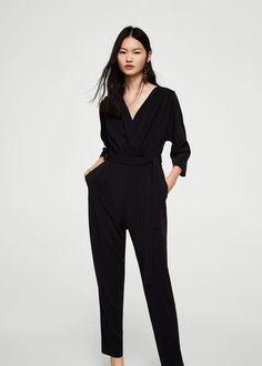 e646df564d0 Flowy fabric Long design Wrap neckline Long sleeve Back zip closure Jumpsuit  Mango