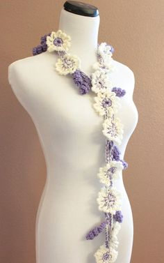 Womens Crochet Flower Scarf Lariat Ivory Cream and by OnTheHook, $28.00