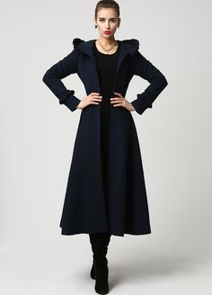 long wool coat Womens coats Navy Blue coat Wool Coat