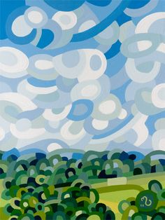 contemporary abstract landscape painting summer field sky blue green.  Art by Mandy Budan.