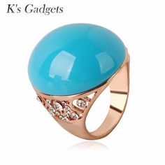 Very Big Yellow Natural Stone Women Rings Rose Gold Color Crystal Rhinestone  Semi-Precious Stones Ring Anel De Ouro