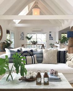 Cozy coastal cottage vibes in a beach inspired living room Source by playables Home Decor Coastal Living Rooms, Home Living Room, Living Room Designs, Coastal Cottage, Hamptons Living Room, Beach Living Room, Kitchen Living, Apartment Living, Beach Cottage Style